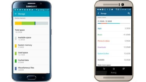 Galaxy S6 ve One M9'un kullanılabilir depolama hafızası
